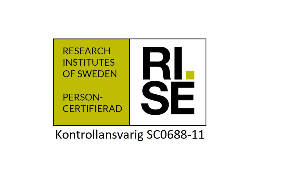 Vi är personcertifierade av RISE 1